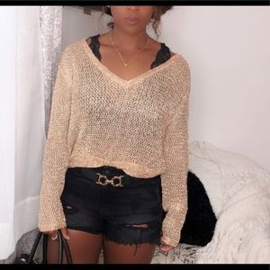 Windsor Fashion Gold Cropped Sweater Size (L)